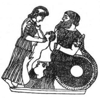 Earth goddess giving child Erysichton to Athena